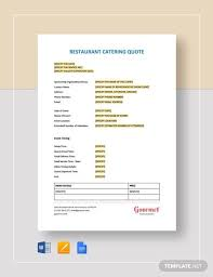 Service Quotes Templates Sample Catering Quote 8 Documents In Pdf Word