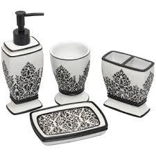 Lovely Black White Damask Bath Accessory 4 Piece Set Overstock Com