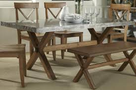 Metal And Wood Kitchen Table Keaton Rectangle Trestle Dining Table With Metal Top Rotmans
