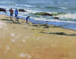 seaside pedestrians original oil painting of people at the beach california beach painting