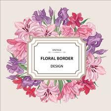 frame design flower. vintage flower with frame design vector 01 o