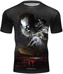 Men's Movie IT Inspired <b>Pennywise T Shirt</b> Clown <b>Stephen</b> King ...