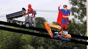 tổng hợp - máy xúc cẩu chở siêu nhân | ô tô chở người nhện | lk nhạc thiếu  nhi sôi động - YouTube