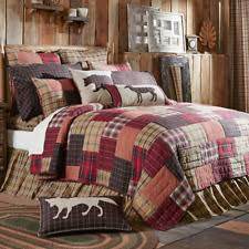 Lodge Patchwork Quilts, Bedspreads & Coverlets | eBay & Wyatt Patchwork Lodge King Size Quilt 100%Cotton  Khaki/Crimson/Black/Brown/Green Adamdwight.com