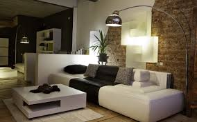 living roomnatural simple living room with brick walls and arch stand lamp natural simple brick living room furniture