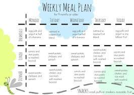 Babies Menu Planner 9 Month Old Food Plan One Hour Fresh Ingredients And A Weeks