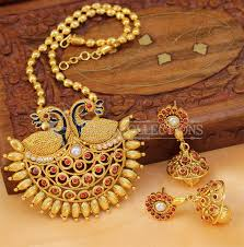 more views designer gold plated peacock pendant set