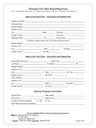 Employee Hire Forms Montana New Hire Form Fill Online Printable Fillable