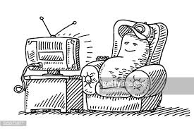 watching tv clipart black and white. lazy couch potato cartoon watching tv drawing vector art   getty images clipart black and white