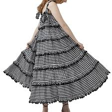 Innika Choo Scallop Frill Dress Iva Biigdres Black Gingham190668   HEWI