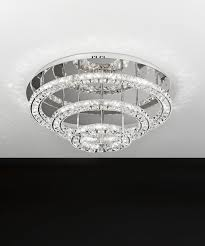 Eglo Led Flush Mount Light Toneria Three Stainless Steel Rings