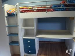 kids bunk bed desk drawers shelves blue or purple