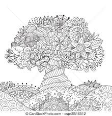 美しい 芸術 抽象的 木 花 線画 地面
