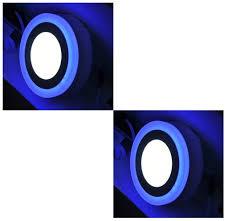 Double Color Led Panel Light 6 3 Watt Double Color Round Surface Led Panel Light Side 3d Effect Light White Blue Pack Of 2