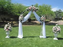 wedding gazebo decorating ideas white wrought iron arch 3 white fl swags voile