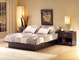 Simple Bedroom Decor. Bedroom. Black Wooden Bed With Beige Sheet Added By  Bedside Table