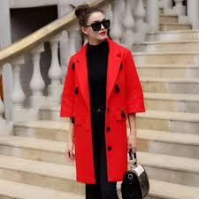 manteau femme winter coat women warm wool coat long women s cashmere coat fashion jacket outwear flare sleeve manteau 66135a