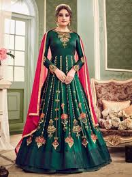 Designer Suit For Marriage Party Green Color Designer Bridal Party Wear Punjabi Suit For