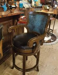 mesquite and turquoise croc bar stool