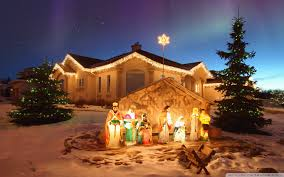 lighted outdoor nativity scene with star ideas