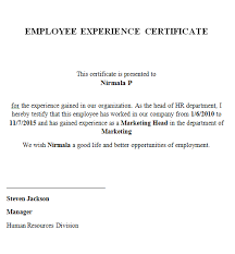 Format Of Experience Letter For Employee Experimental Certificate