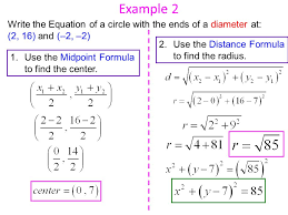 example 2 write the equation of a circle with the ends of a diameter at