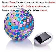 senbowe solar powered mosaic glass ball led garden lights color changing solar table lamps