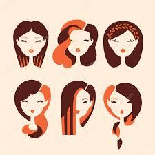 ヘアスタイルや髪型を持つ女の子 ストックベクター Yemelianova