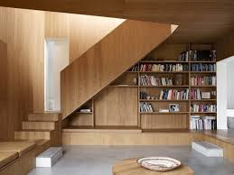 Interior:Creative Wooden Staircase Shelves Design With Hidden Away And  Laminated Wooden Floor Ideas Cool