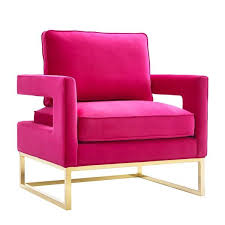 pink velvet and stainless steel chair