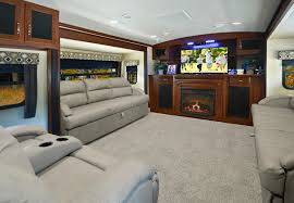 front living room 5th wheel travel trailers. the two sofas, combined with first-class theater seats, provide comfortable seating front living room 5th wheel travel trailers e