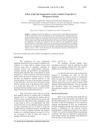 pdf effect of ph and temperature on the catalytic properties of manganese dioxide