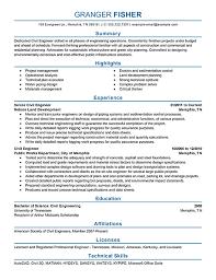 Civil Engineer Resume Example Professional Fancy Engineering Resume