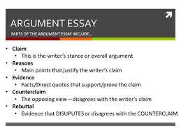 sample essay argumentative ppt video online  parts of the argument essay include