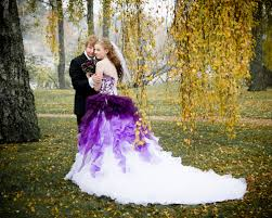 dip dye purple and white ombre wedding dress strapless with