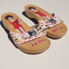 Dr Scholls Barbie Bubblehead Wood Sandals 7