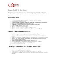 Front End Developer Resume Enchanting Entry Level Front End Web Developer Job Description Sample Resume
