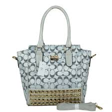 Coach Legacy Tanner In Studded Signature Small Grey Crossbody Bags BNQ