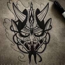 маска япония тату татуировка эскиз Linework Line Tattoo Japan Mask