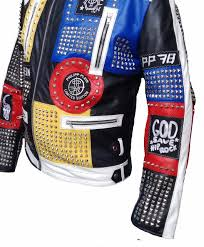new mens philip plein multicolor studded embroidery patches leather biker jacket