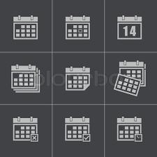 Vector Black Calendar Icons Set Stock Vector Colourbox