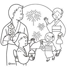 お祭り花火を見に来た家族のイラストぬりえ 子供と動物の