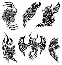 Divoká Zvířata Tetování Stock Vektor Bastetamon 4743681