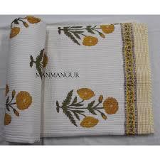 jaipuri razai bedding quilt indian hand block print machine quilt blanket cover b