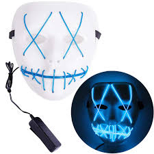 Led Light Up Mask Amazon Jyukan Halloween Mask Led Light Up Purge Mask El Wire Scary Led Mask For Festival Cosplay Halloween Costume White