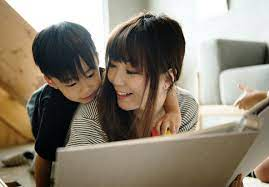 Japanese Asian Mother Son