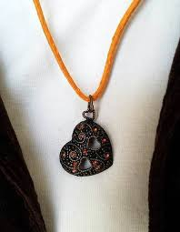 jewelsinspire romantic heart pendant necklace with orange rhinestones faux suede cord with antiqued gold extension chain romantic jewelry