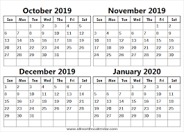 October November December 2019 January 2020 Calendar Editable