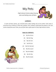 Reading Comprehension Worksheet - My Pets Collection | study ...