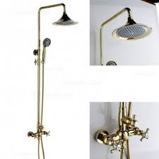 gold rain shower head. suex exposed rain \u0026 hand shower set classic style gold head